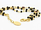 Black And Red Glass Bead 18k Yellow Gold Over Bronze Bracelet 8 inch