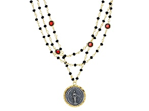 Black And Red Glass Bead 18k Yellow Gold Over Bronze Necklace 21.5 inch