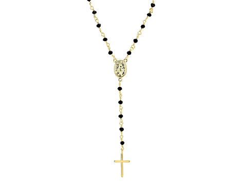 Black Glass Bead 18k Yellow Gold Over Bronze Rosary Necklace 20 inch