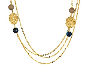 18k Yellow Gold Over Bronze Multi-Strand Bead Station 33 inch Necklace
