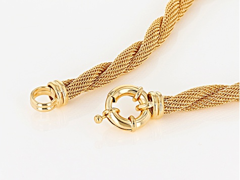 18k Yellow Gold Over Bronze Twisted Mesh With Bead Station 18 inch Necklace