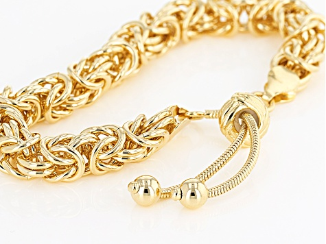 18k Yellow Gold Over Bronze Byzantine Sliding Adjustable Bracelet