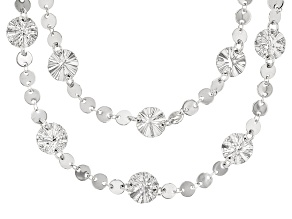 Rhodium Over Bronze Multi-Strand Lumachina Necklace 34.5 inch