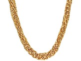 18k Yellow Gold Over Bronze Multi-Strand Bead Necklace 20 inch