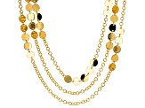 18k Yellow Gold Over Bronze Disc Station 30 inch Necklace