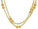 18k Yellow Gold Over Bronze Byzantine Station 31 inch Necklace