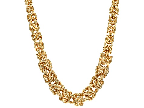 18k Yellow Gold Over Bronze Byzantine Necklace 18 inch