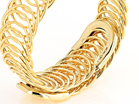 18k Yellow Gold Over Bronze Curb Bangle Bracelet 8 inch