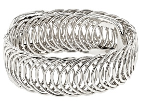Rhodium Over Bronze Curb Bangle Bracelet 8 inch