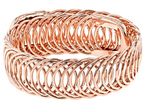18k Rose Gold Over Bronze Curb Bangle Bracelet 8 inch