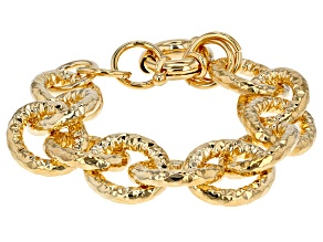 18k Yellow Gold Over Bronze Cable Bracelet 7 inch
