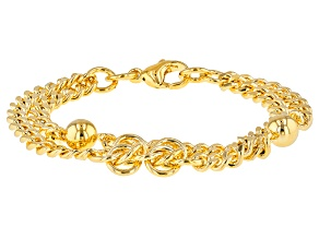 18k Yellow Gold Over Bronze Rosetta Station 7 inch Bracelet