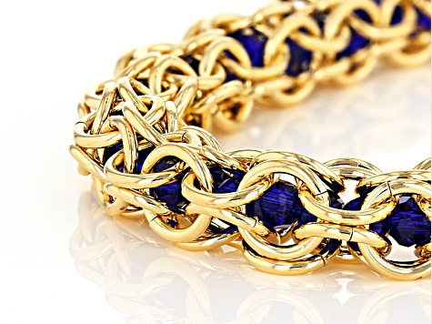 18k Yellow Gold Over Bronze Lattice With Blue Glass Beads 7 inch Bracelet