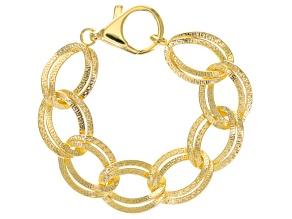 18k Yellow Gold Over Bronze Bracelet 8 inch