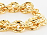 18k Yellow Gold Over Bronze Rolo Bracelet 8.25 inch