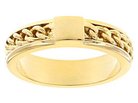 18k Yellow Gold Over Bronze Curb Band Ring