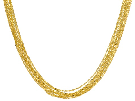 18k Yellow Gold Over Bronze Singapore Chain Necklace 24 inch