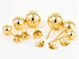 18k Yellow Gold Over Bronze Ball Stud Set Of Three