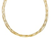 18k Yellow Gold Over Bronze Multi-Row Necklace 18 inch