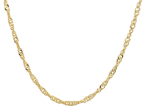 18k Yellow Gold Over Bronze Singapore Chain Necklace 28 inch
