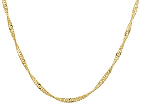18k Yellow Gold Over Bronze Singapore Chain Necklace 36 inch
