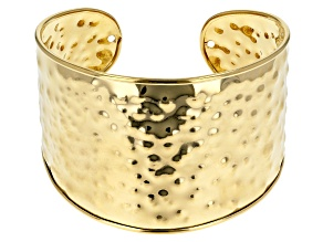 18k Yellow Gold Over Bronze Hammered 8 inch Cuff Bracelet