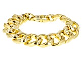 18k Yellow Gold Over Bronze Flattened Curb 7.5 inch Bracelet