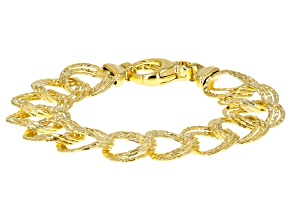 18k Yellow Gold Over Bronze Diamond Cut Garibaldi 8.25 inch Bracelet