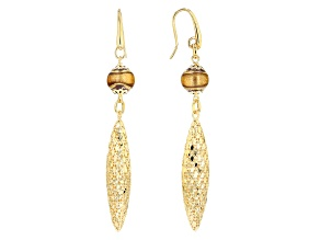 18k Yellow Gold Over Bronze Filigree Murano Bead Dangle Earrings