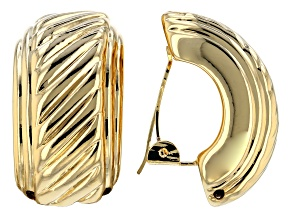18k Yellow Gold Over Bronze Curved Diamond Cut Earrings