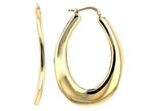 18k Yellow Gold Over Bronze Artformed Oval Tube Hoop Earrings