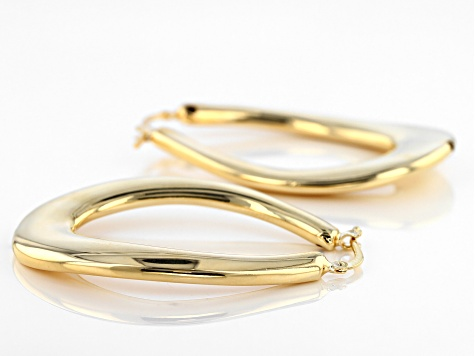 18k Yellow Gold Over Bronze Artformed Oval Tube Hoop Earrings