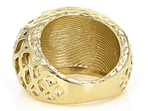 18k Yellow Gold Over Bronze Domed Cut Ring