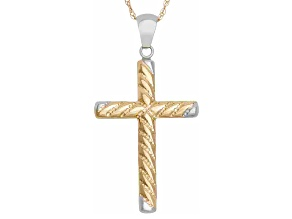 14k Gold Two-Tone Diamond Cut Cross Pendant Necklace