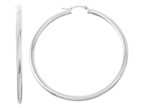 14k White Gold 3mm Thick 55mm Classic Hoop Earrings