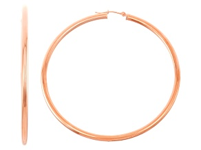 14k Rose Gold 3mm Thick 60mm Classic Hoop Earrings