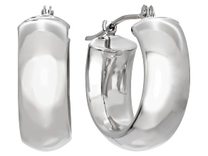 14k White Gold Wide Petite Hoops