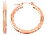 14k Rose Gold 3mm Thick 25mm Classic Hoop Earrings