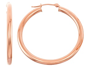 14k Rose Gold 3mm Thick 30mm Classic Hoop Earrings