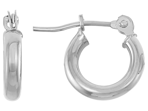 14k White Gold 2mm Thick 13mm Classic Hoop Earrings