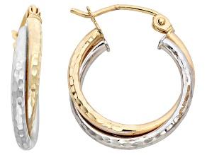 14k Gold Two-Tone Diamond Cut Double Twist Hoop Earrings