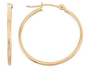 14K YELLOW GOLD 1.5MM THICK 25MM HOOP EARRINGS