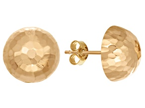 14k Yellow Gold Hammered Half-Ball 10mm Stud Earrings