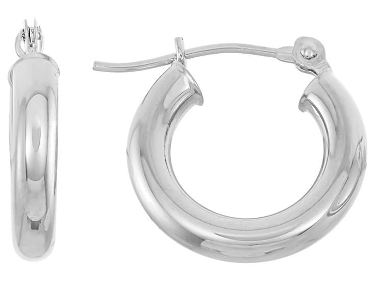 15mm 14k White Gold 2mm Thick Diamond-Cut Round Tube Hoop Earrings