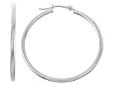 14k White Gold 2mm Thick 35mm Classic Hoop Earrings