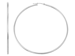 14k White Gold 2mm Thick 40mm Classic Hoop Earrings