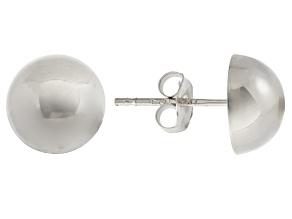 14k White Gold 8mm High Polish Half-Ball Earrings