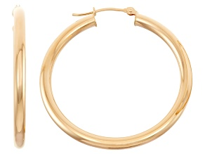 14k Yellow Gold 3mm Thick 35mm Classic Hoop Earrings