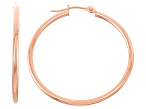 14k Rose Gold 2mm Thick 35mm Classic Hoop Earrings