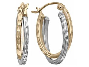 14k Two-Tone Gold Diamond Cut Oval Hoop Earrings